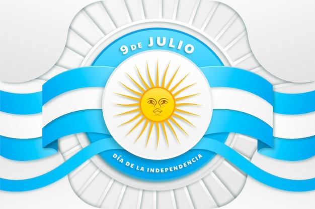 종이 스타일 9 de julio-declaracion de independencia de la argentina 일러스트레이션