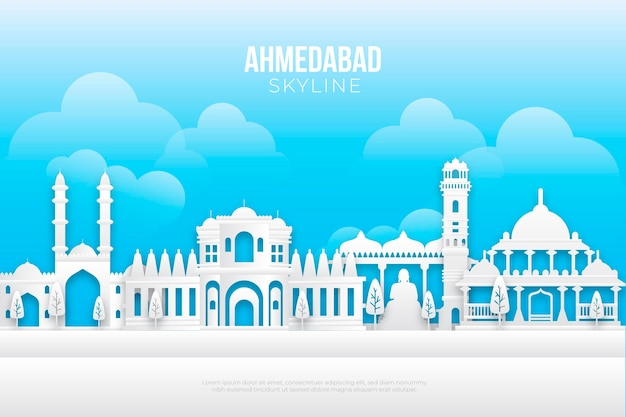 Paper style ahmedabad skyline