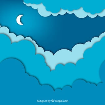 Paper style background with a night sky