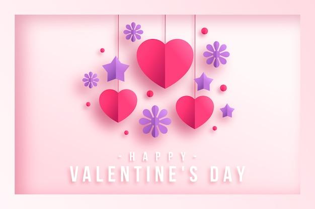 星とバレンタインの心と紙スタイルの背景