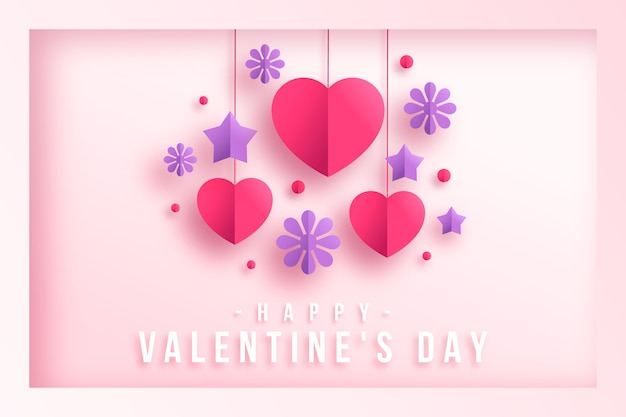 Paper style background with stars and hearts for valentine