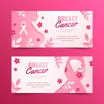종이 스타일 유방암 인식의 달 가로 배너 세트