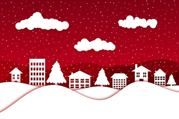 Paper style christmas background