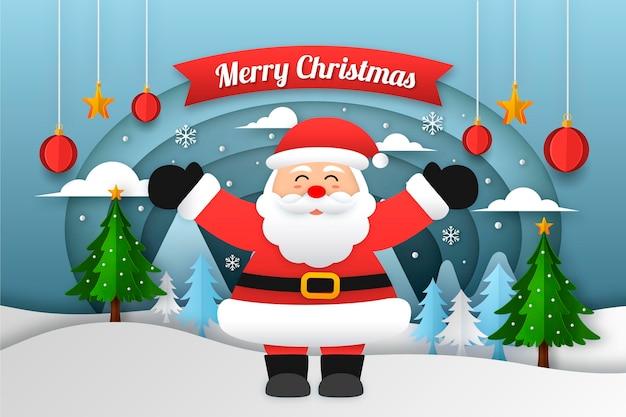 紙のスタイルのクリスマスの背景