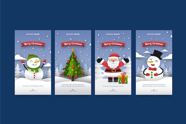 Paper style christmas instagram stories collection
