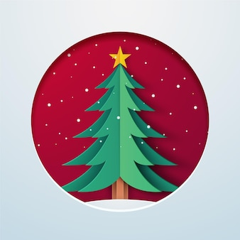 Paper style christmas tree illustration