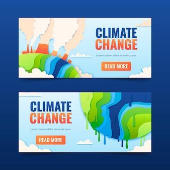 Set di banner per il cambiamento climatico in stile carta