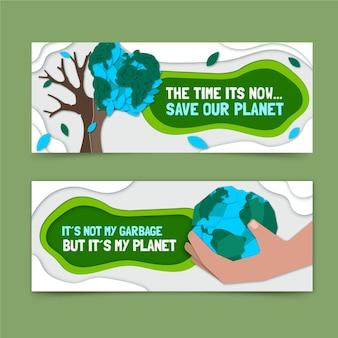 Set di banner orizzontali per il cambiamento climatico in stile carta