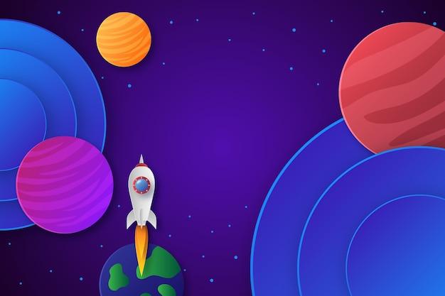 Бумажный стиль красочный фон галактики