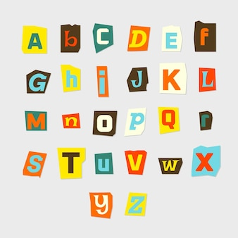 Paper style colorful ransom note letter pack