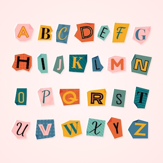 Paper style colorful ransom note letter set