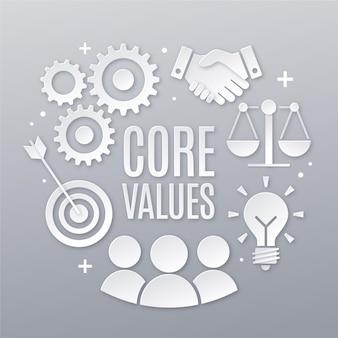 Paper style core values concept elements