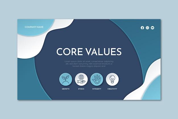 Pagina di destinazione dei valori fondamentali in stile carta