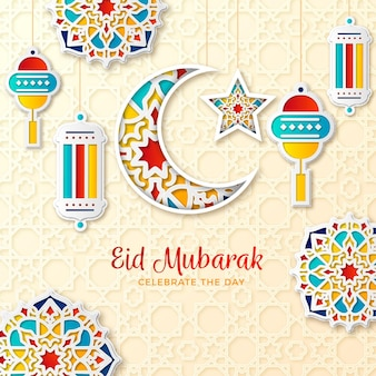 Paper style eid mubarak moon and candles with ornaments