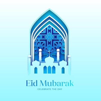 Eid mubarak in stile carta con moschea