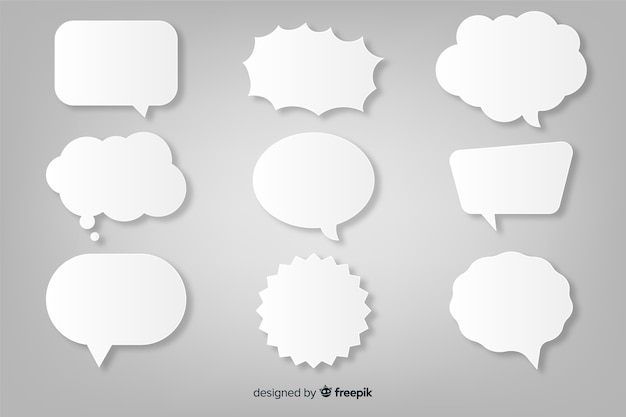 Paper style flat speech bubble collection