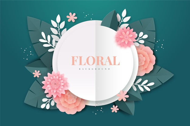 Paper style floral background