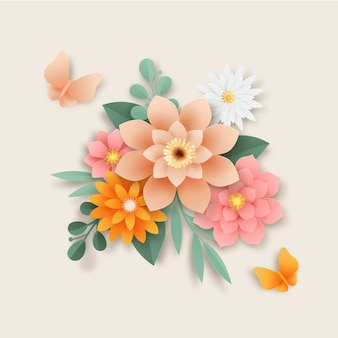 Paper style flowers gradient style