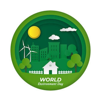 Бумажный стиль для темы слова день окружающей среды