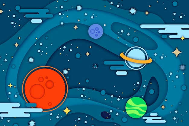 Paper style galaxy background with planets