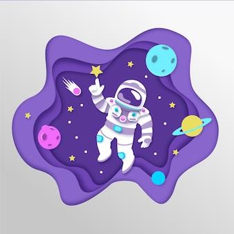 Фон галактики в стиле бумаги