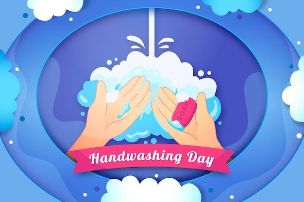Paper style global handwashing day background