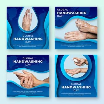 Raccolta di post di instagram per la giornata mondiale del lavaggio delle mani in stile carta con foto
