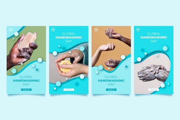 Paper style global handwashing day instagram stories collection with photo