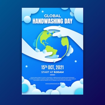 Paper style global handwashing day vertical flyer template