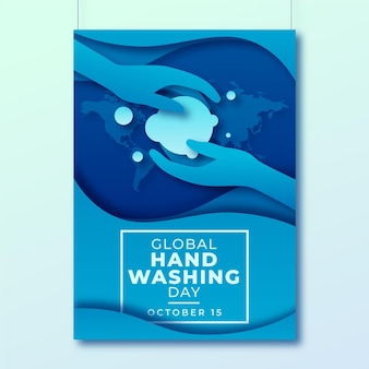 Paper style global handwashing day vertical poster template