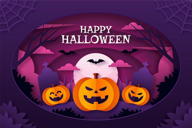 Paper style halloween background