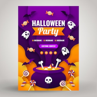 Paper style halloween party vertical flyer template