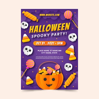 Paper style halloween party vertical poster template