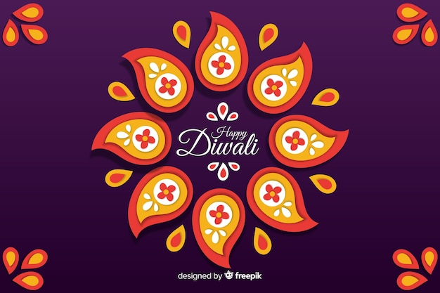 Paper style happy diwali background