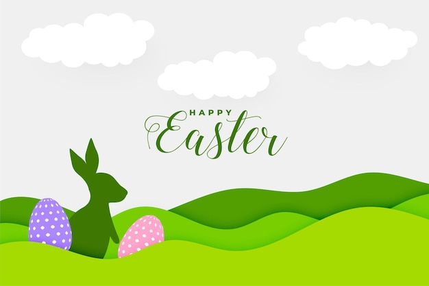 Paper style happy easter day card