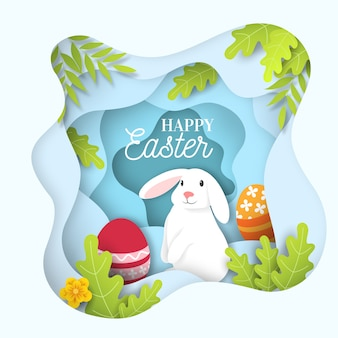 Paper style happy easter day with cute white rabbit