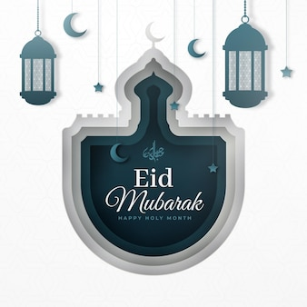 Paper style happy eid mubarak moon and fanoos