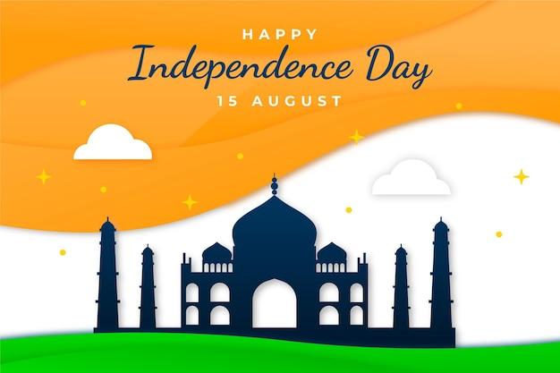 紙のスタイルのインド独立記念日のイラスト