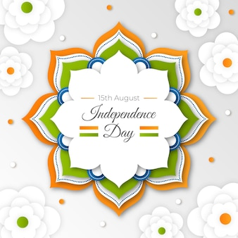 Paper style india independence day illustration