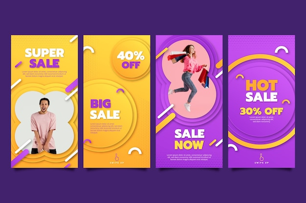 Paper style instagram sale stories collection with photo