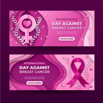 Set di banner orizzontali per la giornata internazionale in stile carta contro il cancro al seno