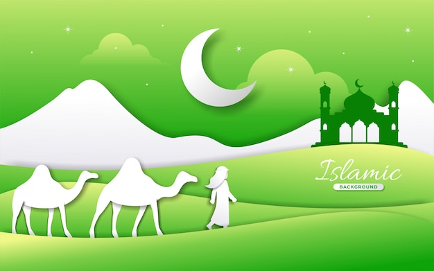 Paper style islamic background with man camel and scenery landscape
