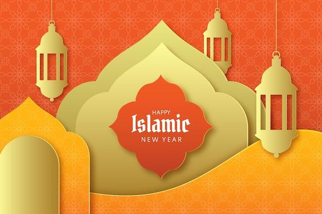 Illustrazione islamica del nuovo anno di stile di carta