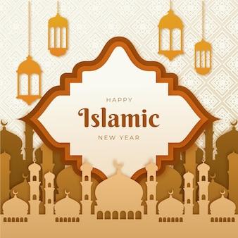 Paper style islamic new year illustration