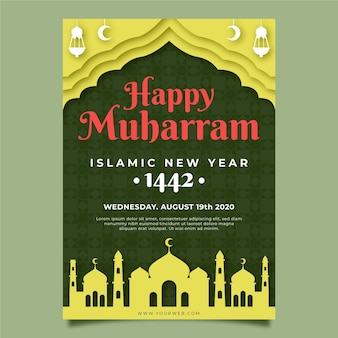 Paper style islamic new year poster template