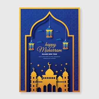 Paper style islamic new year poster