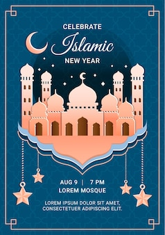 Paper style islamic new year vertical poster template