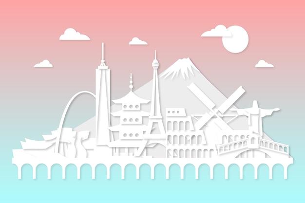 Paper style landmarks skyline