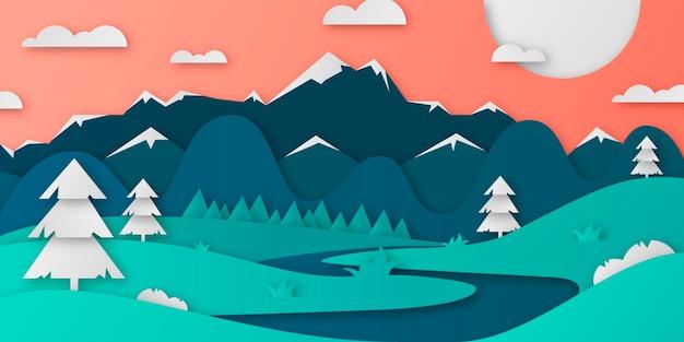 Ландшафтный дизайн в бумажном стиле