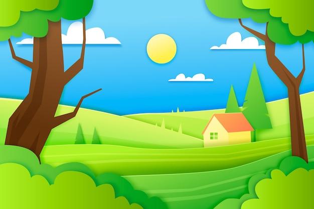 紙風の風景イラスト